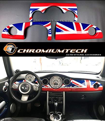 Orange//Black Chromiumtech IMRC-MK2A-UJOR Chequered Union Jack Interior Rear View Mirror Cover