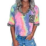 Camiseta túnica de Manga Larga para Mujer Camisas largas básicas Cuello en V Tops asimétricos Tops Informales Sexy Blusa Bolso Tote para Mujer con Estampado de Leopardo y Cuello en V y Mangas Cortas