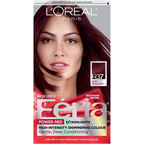 L'Oréal Paris Feria Multi-Faceted Shimmering Permanent Hair Color, R37 Blowout Burgundy (Deep...