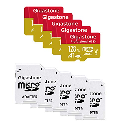 Gigastone 128GB 5-Pack Micro SD Card, Professional 4K Ultra HD, High Speed 4K UHD Gaming, Micro SDXC UHS-I U3 C10 Class 10 Memory Card with Adapter