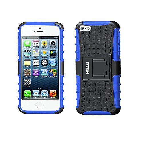 FETRIM Coque iPhone 5S,iPhone 5 Coque, Armure Support TPU Silicone + Plastique Protection Étui,Anti Chocs Bumper Hybride Protection Housse Cover pour Apple iPhone 5 5S Se - Bleu