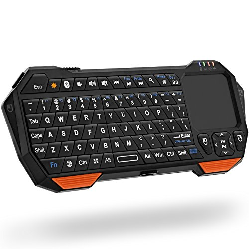 Fosmon Mini Bluetooth Keyboard (QWERTY Keypad), Wireless Portable Lightweight with built-in Touchpad, works with...