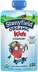 Stonyfield Organic Kids Strawberry Lowfat Yogurt Pouch, 3.5 oz, Single Serve – Includes Live Active