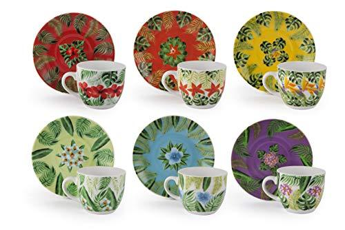 Excelsa Mandala Tropical Set 6 Tazzine caffè con Piattino cl.90, Multicolor, Porcellana