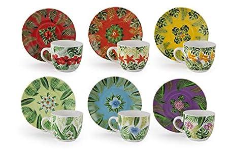 Excelsa Mandala Tropical - Juego de 6 tazas de café con platillo, porcelana