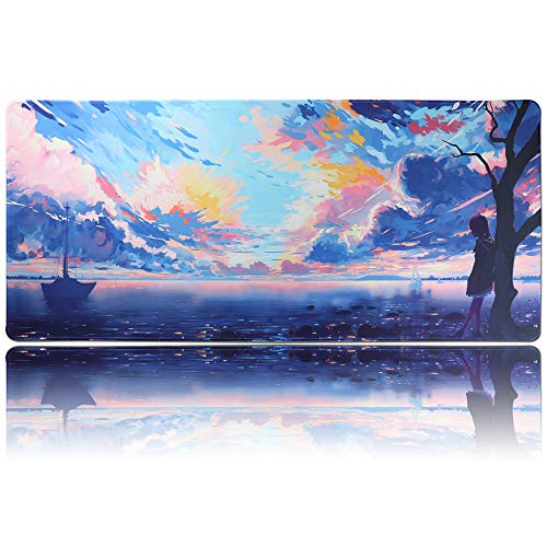 U&G Extended XXL Gaming Mouse Pad (35.4x15.7), Large Anime Mousepad,Non-Slip Rubber Base Waterproof Desktop Accessories Keyboard Mouse Mat Desk Pads for Work, Game, Office Players