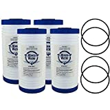 KleenWater Aqua-Pure AP810, AP801 Compatible Filters, AP810 Alternative Replacement Water Filter Cartridges, 4 1/2 X 9 7/8 Inch, 5 Micron, 4-Pack with 4 AP801 Compatible O-Rings