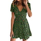 MOMFEI Womens V Neck Floral Leapord Dress Short Sleeve Summer Fahion Mini Dress (Small, Green)