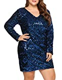 IN'VOLAND Womens Sequin Dress Plus Size V Neck Party Cocktail Sparkle Glitter Evening Stretchy Mini Bodycon Dresses Navy Blue