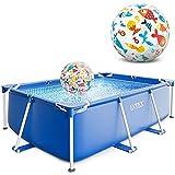 Intex Small Frame Swimming Pool rechteckig 220 x 150 x 60 cm Schwimmbecken 28270 mit Extra-Zubehör wie: Strandball