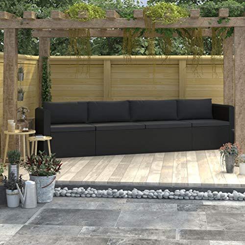 pedkit Set de Sofás de Jardín 4 Piezas y Cojines Muebles Exterior de Jardín Sofas Jardin Exterior Ratán Sintético Negro