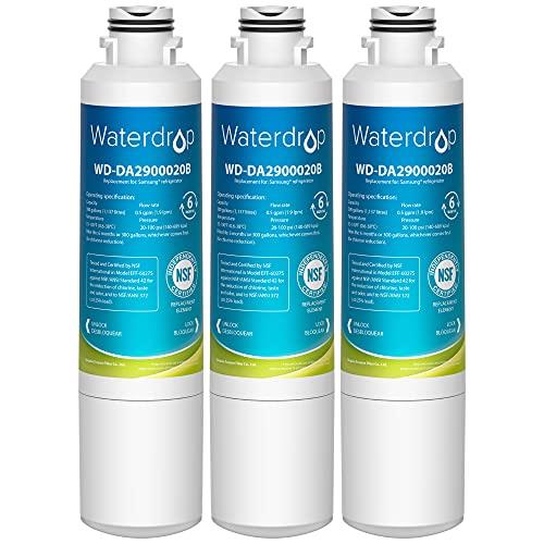 Waterdrop DA29-00020B Refrigerator Water Filter, Replacement for Samsung DA29-00020A/B, HAF-CIN/EXP, DA29-00020B-1, RF25HMEDBSR, RF28HMEDBSR, RS25J500DSR, RF263BEAESR&More Models, 3 Carbon Filters