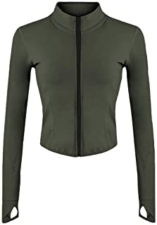 Women's Athletic Full Zip Lightweight Workout Light Jacket with Thumb Holes