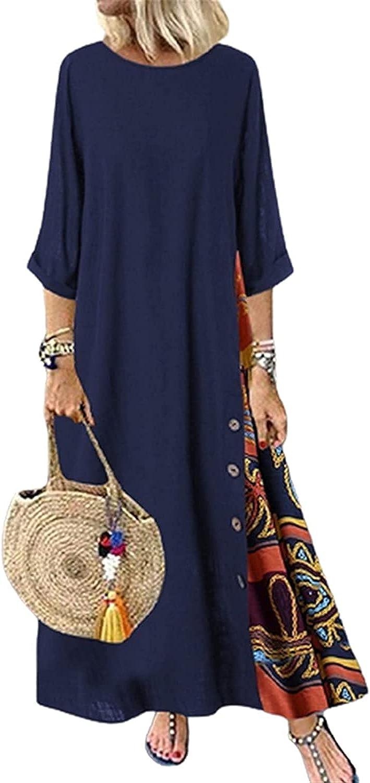 Blivener Half Sleeve Boho Maxi Dress for Women, Round Neck Casual Plus Size Bohemian Floral Print Fall Long Dresses