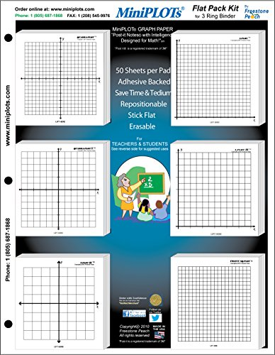 """MiniPLOT Algebra Graphing Kit: Six 3"""" x 3"""" Sticky Backed Graph Paper Pads - Variety of X Y axis coordinate grid templates printed on pads. Pads mounted on 8.5x11"""" cardstock. 50 sheets per pad."""