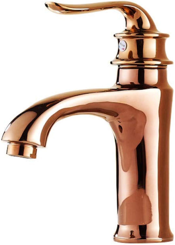 YHSGY Waschtischarmaturen Vollkupfer Becken Heien Und Kalten Wasserhahn Europischen RoséGoldhahn