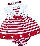 BabyPrem Bébé Robe Culotte Ensemble Filles Vêtements Rayures 6-9 Mois (68-74cm) Rouge