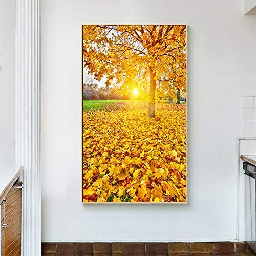 SYyshyin Mural Puesta de sol hojas doradas DIY pintura sin marco, pintura vertical 5D pinturas murales decorativos pared sala de estar entrada casa (tamaño: 70 x 140 cm)