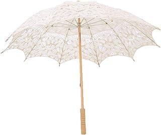 F Fityle Lace Wedding Umbrella Parasol for Bride Cotton Fashion Wooden Handle Decoration Umbrella