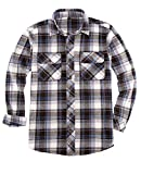 Camisa de franela para hombres,Camisas de franela a cuadros pesados con refuerzo oculto,Algodón cepillado doble - - X-Large