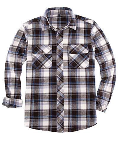 Flannel Shirt for Men,Mens Heavyweight Plaid Flannel Shirts with Hidden Armpit Gusset,Double Brushed,Cotton Coffee/Blue XL