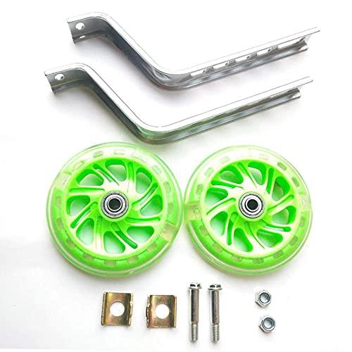 CHOUE Training Wheel Attachment voor 12/14/16/18/20/22 inch fiets babyfiets trainingswielen voor fiets, groene vervangende trainingswielen met veelkleurig LED-licht, inclusief gemonteerde kit