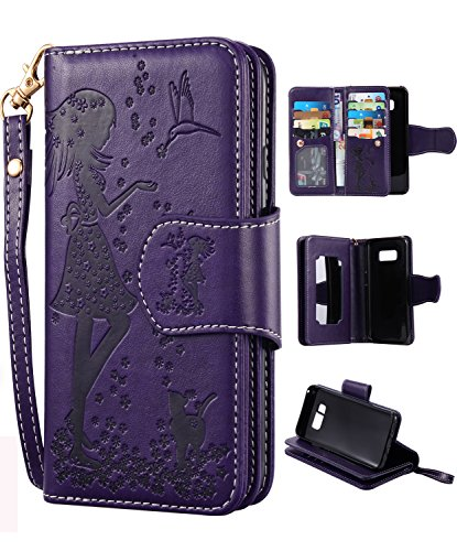 FLYEE Compatible with Samsung Galaxy S8 Plus (6.2 inch,Released 2017),Wallet Case for Women and Girls with Card Holder and Mirror,9 Cards Slots PU Leather Flip Magnetic Dream Protective case-Purple
