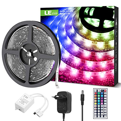 LE Tira Luz RGB 5M, Tira LED 150 SMD 5050, Multicolor y Regulable, Impermeable IP65, Tiras Luces LED RGB 20 Colores 8 Modos, Control Remoto, Tiras LED TV para Navidad, Halloween, Fiestas y Bodas