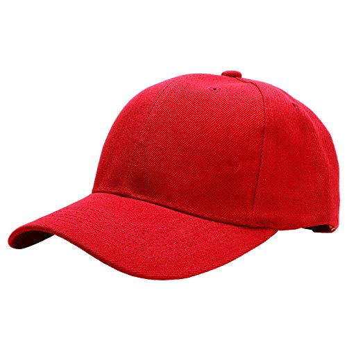 Falari Baseball Cap Adjustable Size Solid Color G001-03-Red