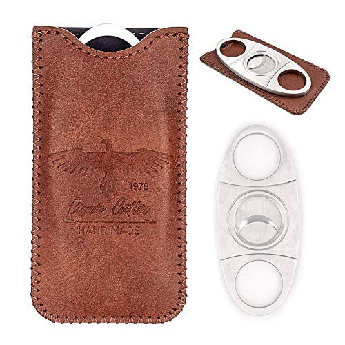 Stainless Steel Cigar Cutter with Leather Case,Double Blade for a Precise Perfect Cut(Brown Eagle)