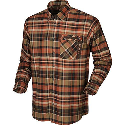 Härkila Newton Hemd Dark Burnt orange Check Brusttasche mit Reißverschluss Karohemd, Größe:XL