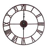 KEAIGUI98 Reloj de Pared de Metal Extra Grande Estilo Vintage Color chocolateNegro_8 Pulgadas
