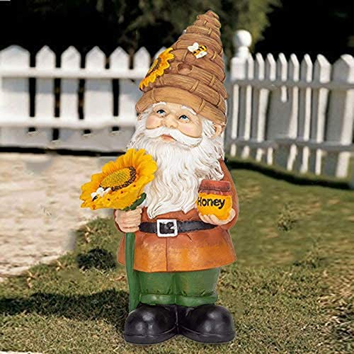 Beehive Garden Gnome Figurine, Bright Yellow and Tan Polyresin Statue for Lawn O,Garden Fence Tree Yard Decorative Ornament