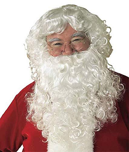 Minasan - Disfraz de Papá Noel, barba y peluca, color blanco Blanco Talla única