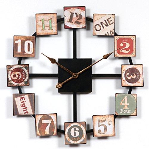 Yavso Reloj vintage de pared de 60 cm de tamaño grande, silencioso,...