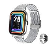 Aliwisdom Smartwatch per uomo donna bambini, impermeabile Smart watch con chiamate Bluetooth e promemoria whatsapp, Fitness Tracker impermeabile orologio fitness per iphone Android (Argento)