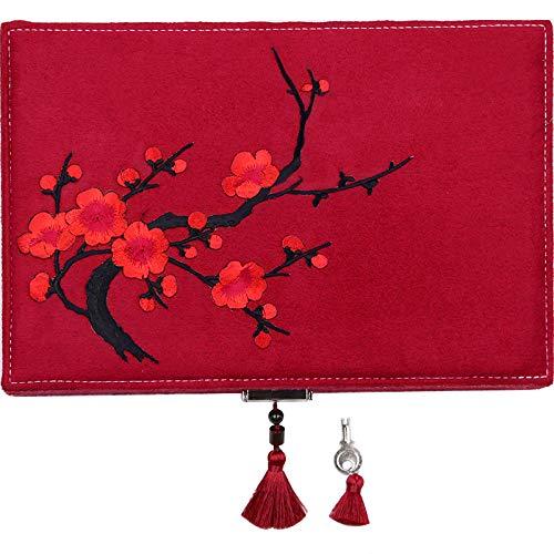 LWW Caja Joyero Chino,Joyero Caja de almacenaje de la joyería China Bordado Estilo Nacional Retro Caja de joyería Exquisita Muebles y Regalos orientales