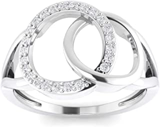 Perrian 18K White Gold 0.14 Carat (SI2 Clarity, GH Color) Round Diamond Ring for Women