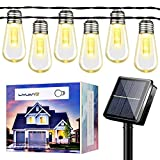 Outdoor Patio String Lights Waterproof Solar Lights S14 Large LED Bulbs Yard Hanging Lights Indoor Outdoor Decoration for Backyard Garden Party Wedding Porch Balcony