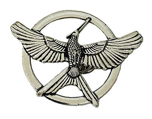 Broche de réplica de los juegos del hambre, diseño de Sinsajo, diseño de símbolo de homenaje a fantasía unisex, plata envejecida