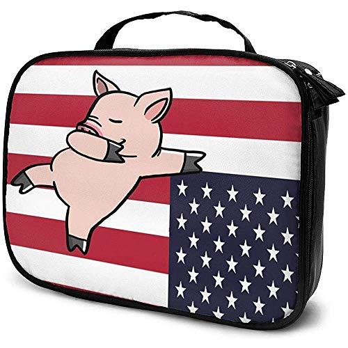 Drapeau des États-Unis Sac de Maquillage pour Dessin animé de Cochon Étui à cosmétiques Portable Grande capacité Organisateur cosmétique Durable