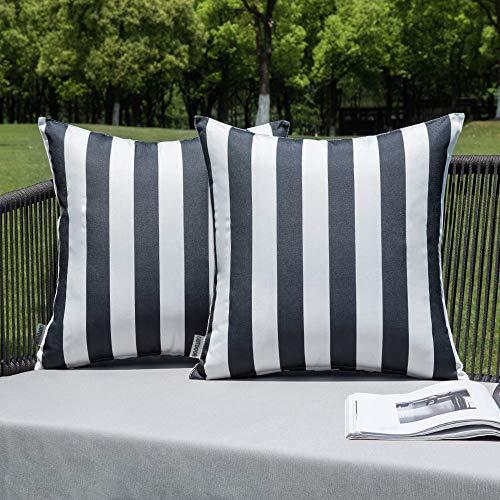 MIULEE Dekorative Kissenbezüge für draußen, wasserdicht, gestreift, quadratisch, 45,7 x 45,7 cm, cremeweiß, 2 Stück