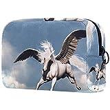 Bolsa de Maquillaje Organizador Small CosmeticBagsforWomen Neceser de Viaje Neceser Estuche de Maquillaje Monedero Bolso Criatura Ancient Fable Myth White Horse
