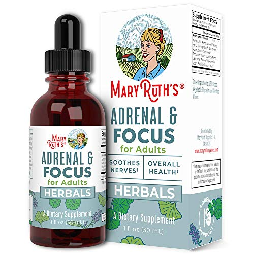 Adults Focus Support Supplement by MaryRuth's, Natural Brain Support Vitamin, Adrenal Complex with Astragalus Root, Gingko Leaf & Wood Betony Herb, 1 Month Supply, 1 Fl Oz
