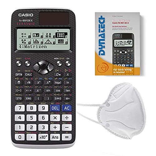 DynaTech Set Casio FX-991DE X Wissenschaftlicher Taschenrechner Rechner + 3x Mundmaske - Schutzmaske Weiß