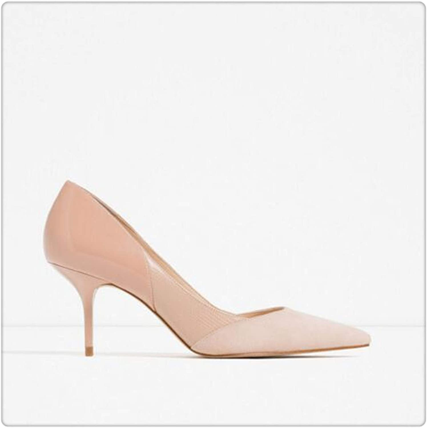 Mixed color Classic Women High Heels shoes 7cm Female Simple Women Pumps Heels Dress shoes Small Size 34-40 Apricot 8