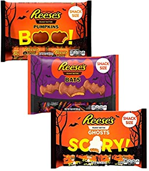 Reeses Peanut Butter Candy - Chocolate Pumpkins White Chocolate Ghosts and Chocolate Bats - Halloween Chocolates Assortment Variety Pack Snack Candies Size 10.2 Ounces each