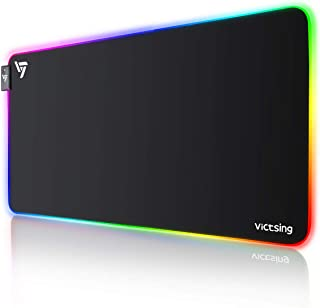 VicTsing RGB Gaming Mouse Mat, Large Mouse Pad (800 * 400 * 4mm) with 12 Light modes, Water Resistance and Non-Slip, LED Keyboard Mouse Mat for Gaming, Computer, Office and desk