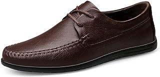 Dingziyue - Scarpe casual da uomo in pelle, scarpe casual con scarpe in pelle, scarpe piatte (colore: nero, taglia: 46)