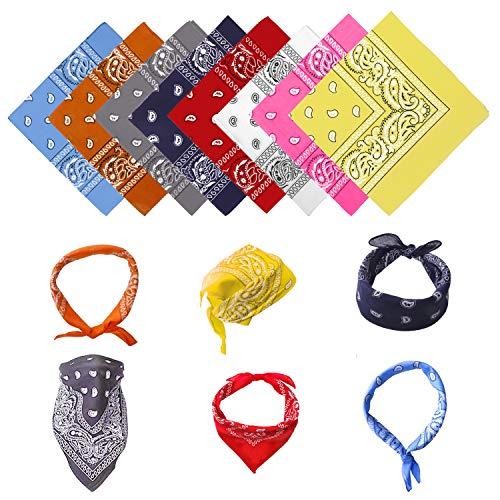 SUNNEY Bandana 8 Stück Halstuch Paisley Kopftuch 100% Baumwolle Nickituch Bandanas Tuch Stirnbänder für Damen Herren